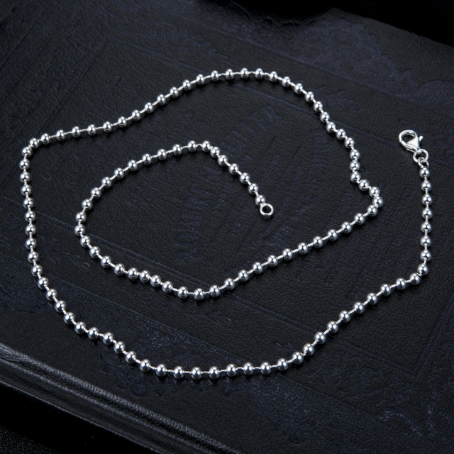 """wholesale 100% 925 silver DIY necklace Ball Bead Chain for Necklaces Keychains men women jewelry accessories 20""""22""""24""""26""""28′"""