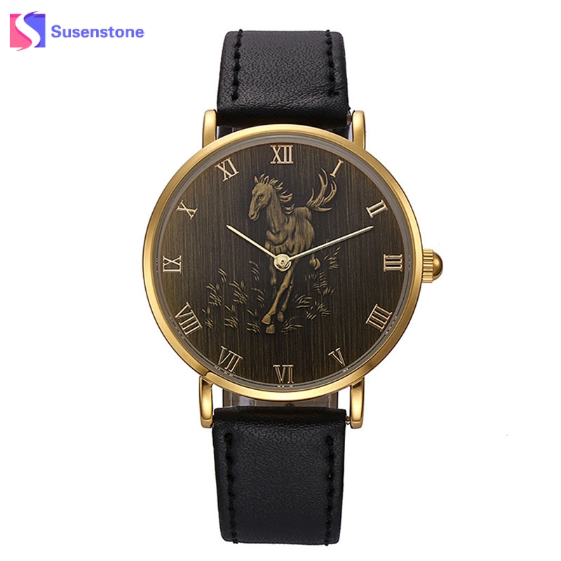 Hot Sale Zodiac Horse Pattern Men Watch Quartz Luxury Watch Analog PU Leather Roman Numerals Mens Business Watches relogio робот zodiac ov3400