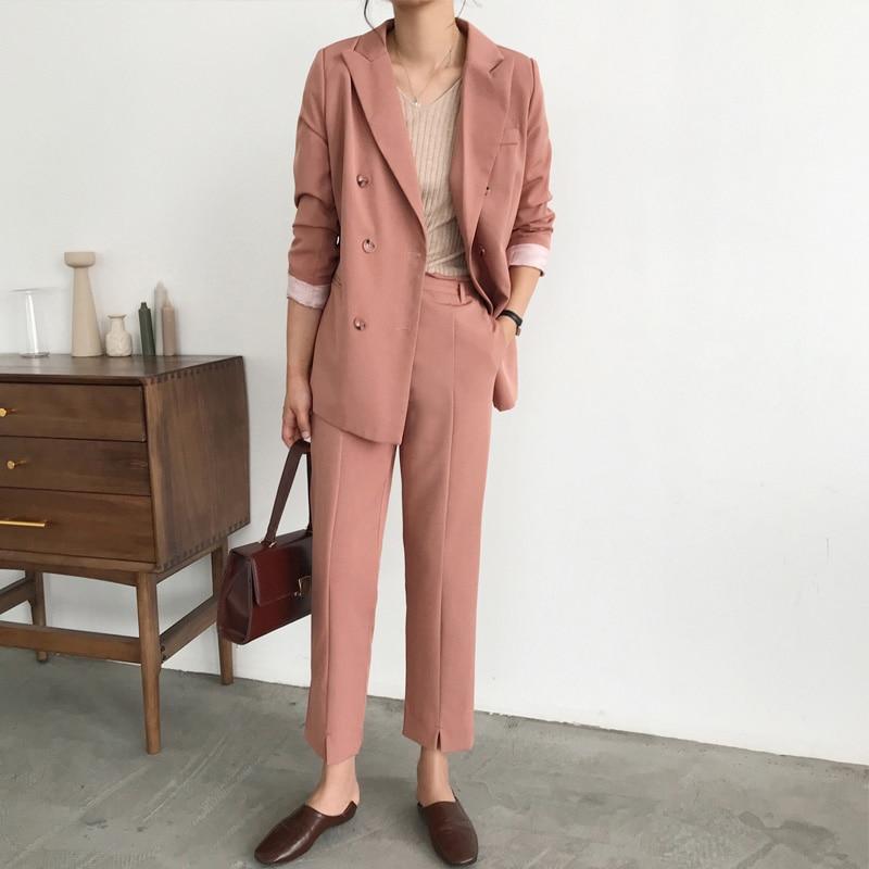 Fashion 2 Pieces Set Women Pant Suits Double Breasted Notch neck Jacket Blazer Sashes Pant Female