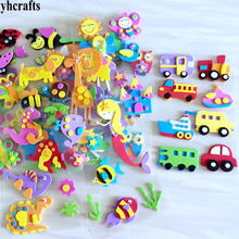 1Bag/Lot,animal Santa Xmas Car Flower Mermaid Princess Dinosaur Fish Owl 3D foam stickers Decorative elements diy toys Gifts(China)