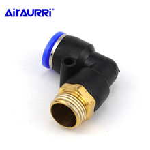 Tube Air Push In Pneumatic Male Elbow Connector L type Fitting PL OD 4 6 8 10 12mm - 1/8'' 1/4'' 3/8'' 1/2'' tube size 12mm 3 8 pt thread smc style air fitting triple universal male elbow kq2vt