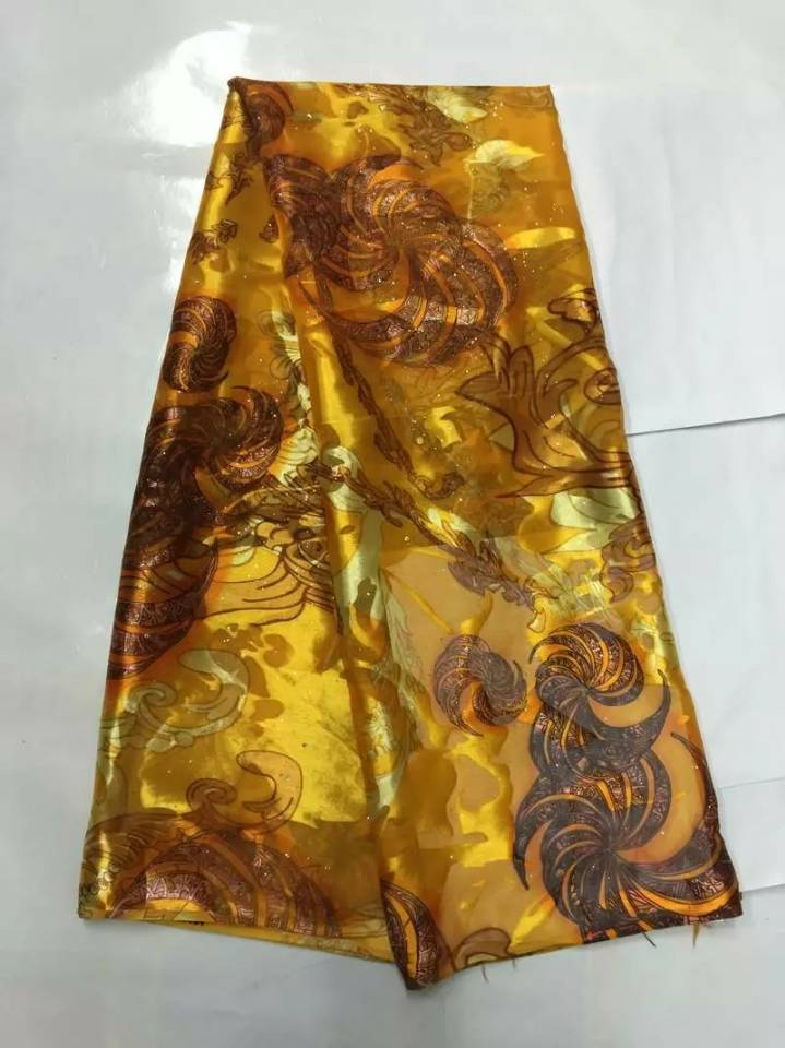 5Yards/pc Hot sale gold chiffon silk lace flower design african smooth and soft silk fabric with rhinestone for dress JS35-25Yards/pc Hot sale gold chiffon silk lace flower design african smooth and soft silk fabric with rhinestone for dress JS35-2