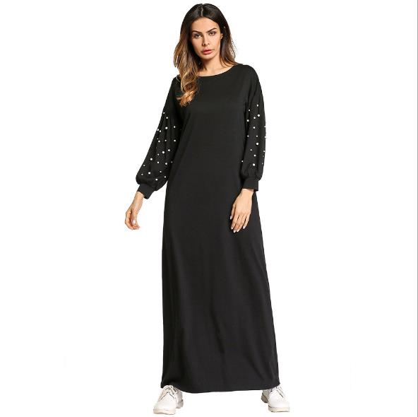 d8e5b2577f2ef Muslim Abaya Beading Maxi Dress Black Kimono Long Robe Gowns Loose Style  Plus Size Jubah Ramadan