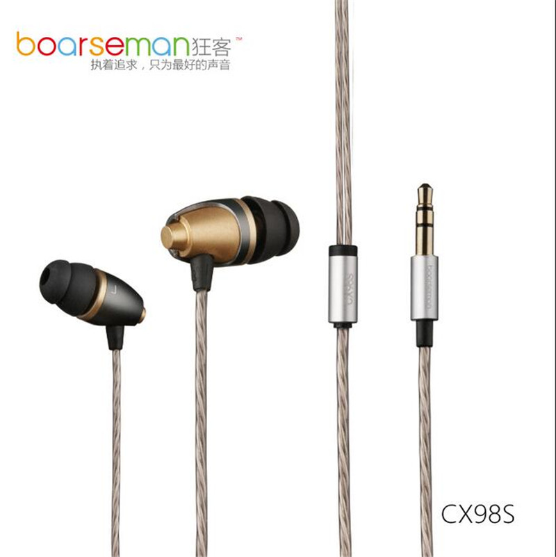 100% Original Boarseman CX98S In Ear Earphone 3.5MM Hifi In Ear Headset Dynamic Earbuds For Phone Computer Common Use abs chrome grille trim around racing grills light bar trim for mitsubishi asx 2010 2012