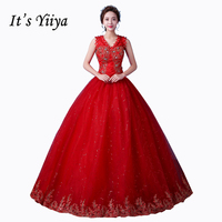 New 2017 Plus Size V Neck Lace Princess Sequins Wedding Dresses Cheap Red White Bride Frock
