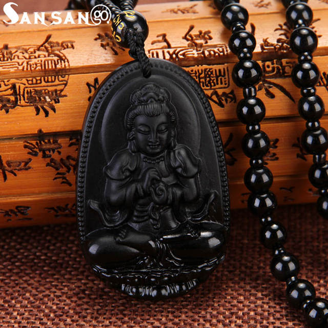 High Grade Black Color Glass Buddha Pendant Necklace Beaded Chain Nepal Religion Jewelry For Woman Men