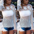 2016 New Sexy Women Lace Crochet Swimwear Summer Casual Tops Shirt Blouse