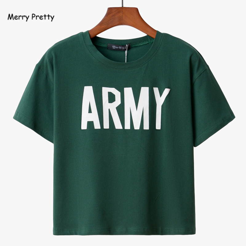 Merry Pretty Women Tshirt 2017 Summer Style Army Green T Shirts Harajuku Loose Casual Tops Letter Print Female T-shirt Blusa