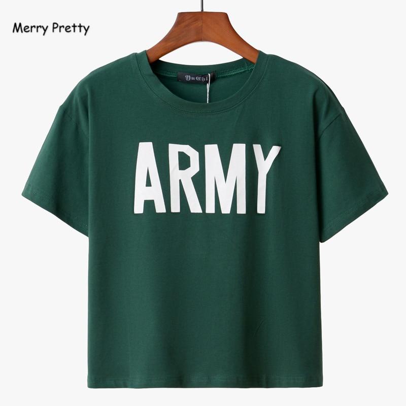 Frohe Ziemlich Frauen T-shirt 2018 Sommer Stil Armee Grün T Shirts Harajuku Lose Beiläufige Tops Brief Drucken Weibliche Baumwolle T-shirt