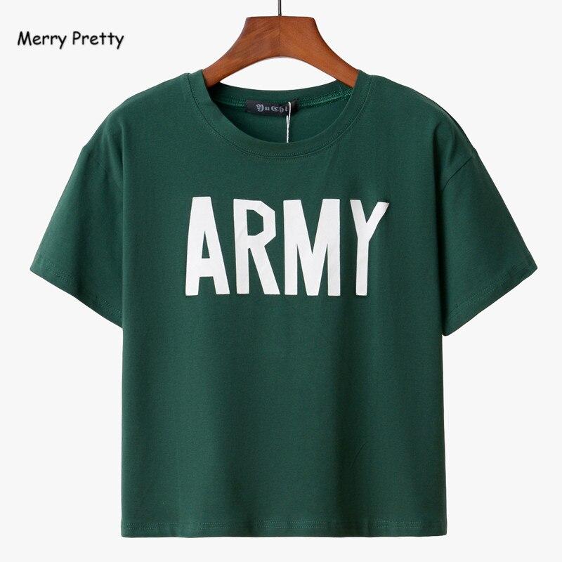 Merry Pretty Women Tshirt 2017 Summer Style Army Green T Shirts Harajuku Loose Casual Tops Letter Print Female T-shirt  Blusa
