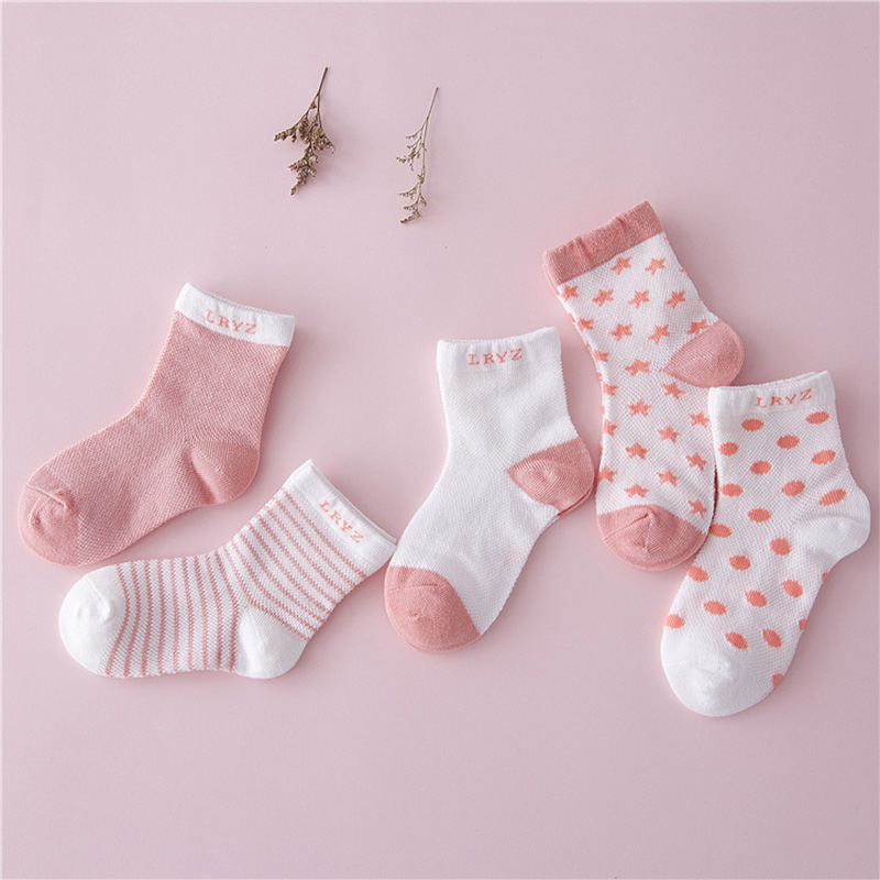 Ideacherry Cotton Baby Socks 10 Pcs/Lot=5Pairs Newborn Floor Socks Girl And Boy Short Socks Infant Striped Dots Anti-slip Socks