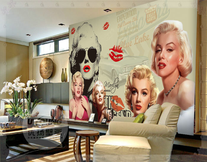 Marilyn Monroe Wallpaper Mural Large Wall Murals Wall Paper 3D Nostalgic  Vintage Home Decoration Customized Copper Part 98