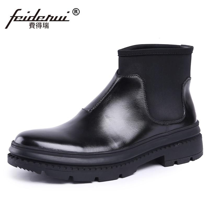 Rond boy La Chaussures Cuir Bout Homme top Haute Chlesea Cheville forme Mode Cheval Bottes Plate En Cow Hommes Js72 De À Main Véritable Noir Designer 3R4jA5L