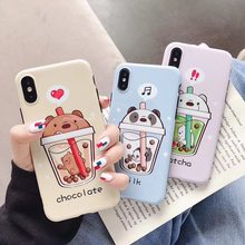 New Cartoon Pearl Milk Tea We Bare Bears Phone Case For iPhone 11 Pro X XS MAX XR 6 6s 7 8 Plus Fashion cute Lovers IMD Cover(China)