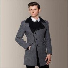 2016 Осень И Зима Новый Британский Стиль мужская Шерстяное Пальто Slim Fit Серый Пальто Manteaux Homme Hiver 2015 Маркес A757