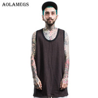 Aolamegs Men Summer Hip Hop Extend Long Tank Top Men's Casual Vest Fashion Swag O-Neck Sleeveless Tank Tops Cotton Solid Tops