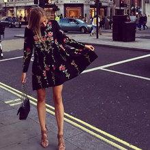 66dc27ec7e1f ... black dress fashion style loose floral embroidered long sleeve O-neck  Spring Summer 2017 elegant ...