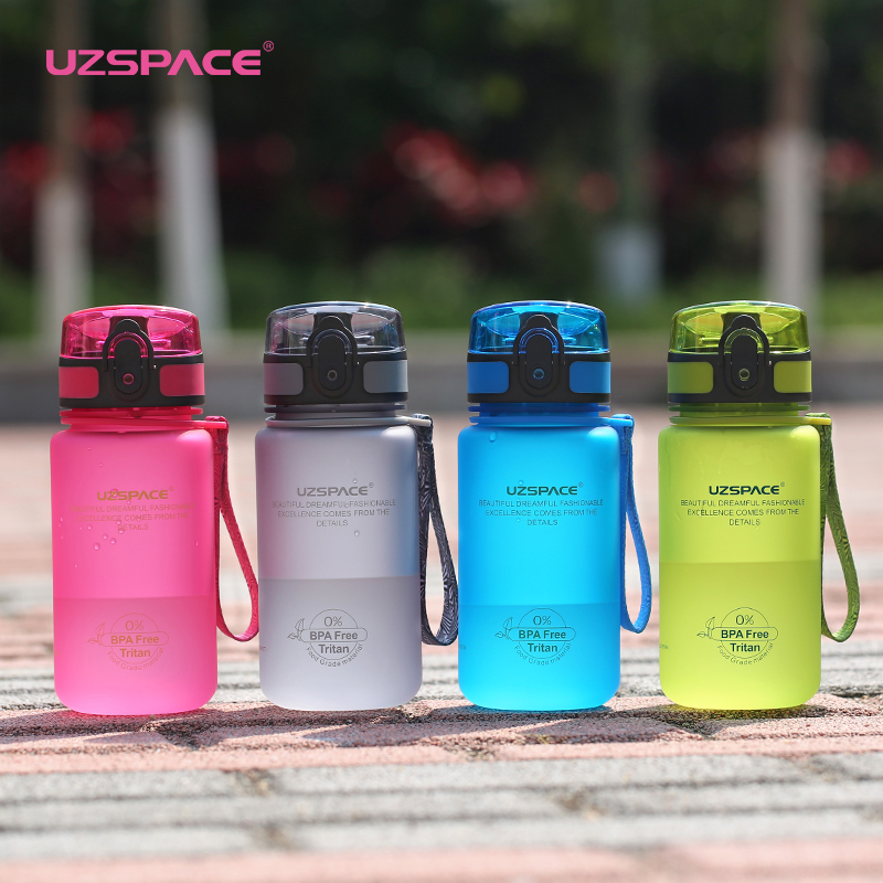 UZSPACE 350ml Sports Water Bottle Kid Lovely Eco friendly Plastic LeakProof High Quality Tour Portable my