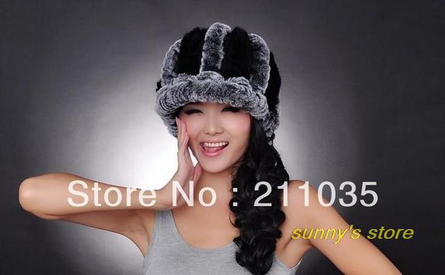 Hot Sale rex rabbit hair belt hat brim fur hat thermal women's earmuffs winter hat,