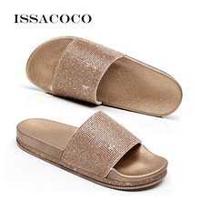 ISSACOCO Summer Solid Flat Rhinestone Bling Women Slippers Beach Flip Flops Sandals Home Indoor Female Sparkling Shoes