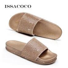 Issacoco Лето однотонные сандалии на плоской подошве Стразы