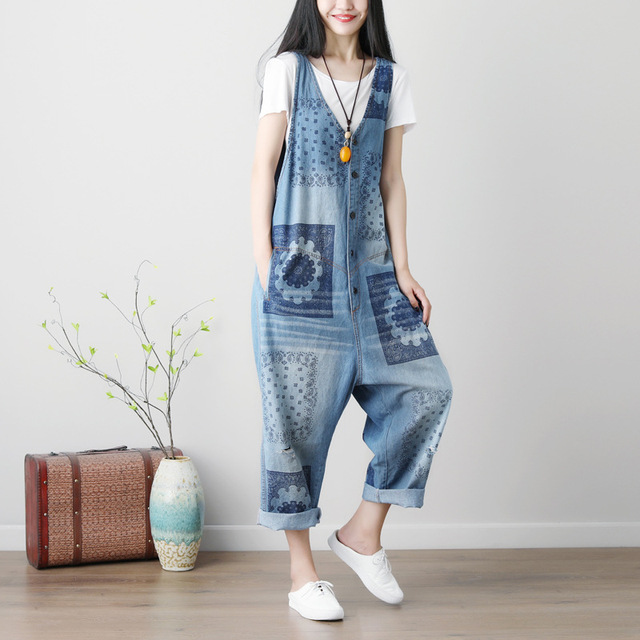 9d76bbfa262 Women Summer Washed Vintage Printed Denim Jumpsuits Overalls Female Print  Pattern Washed Bleached Scratched Denim Rompers