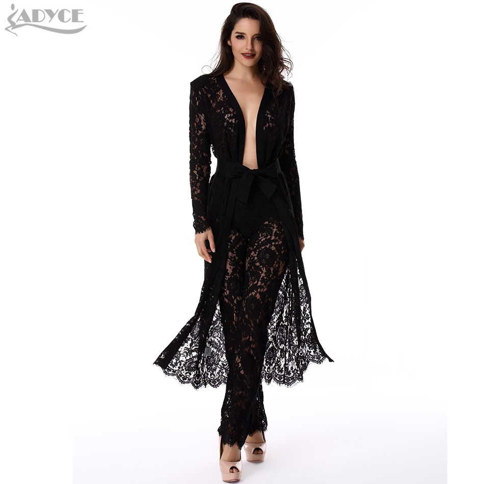 2019 Summer New Women basic Coats Luxury Black Lace Coat sashes long sleeve Royal celebrity Runway Coat Women Coat Wholesale