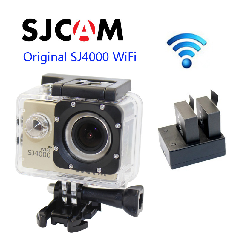 Free shipping!!Original SJCAM SJ4000 WiFi 1080P Full HD Action Camera Sport DVR+Extra 1pcs  Batteries+Dual Battery Charger original gitup git2 standard packing 2k wifi sports camera full hd for sony imx206 16mp sensor extra 1pcs battery dual charger