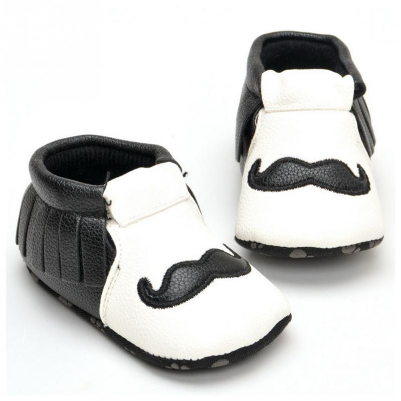Fashion Newborn Casual Shoes new Fringe Tassel Beard black white male Baby Shoes Toddler Infant PU Soft Botton Shoes