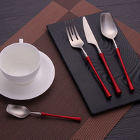 24Pcs/set Red Silver Stainless Steel Cutlery Kitchen Western Tableware Dinner Set Silverware Forks Spoons Knives Dropshipping