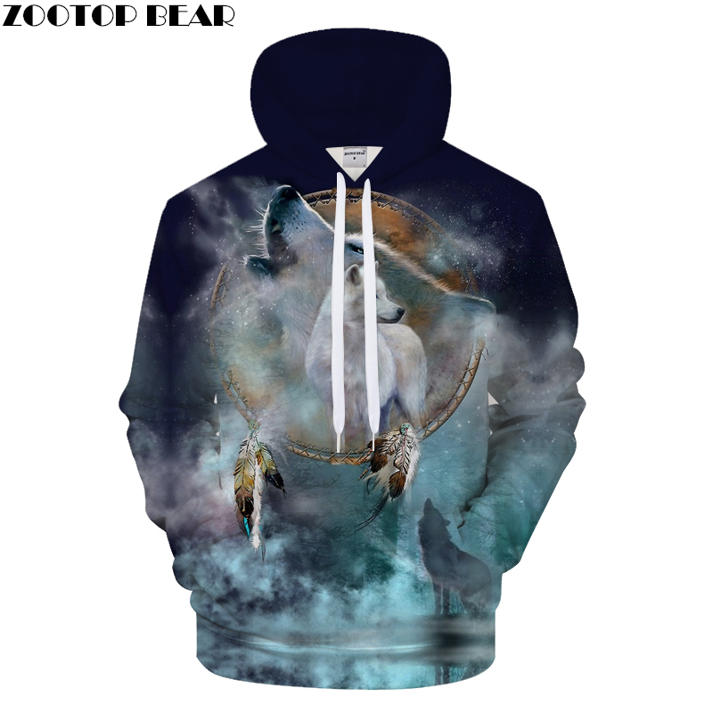 Harajuku Hoodies Men Sweatshirt 3D Wolf Hoody Streatwear Tracksuit Funny Pullover Brand 6XL Winter Wolf Print DropshipZOOTOPBEAR
