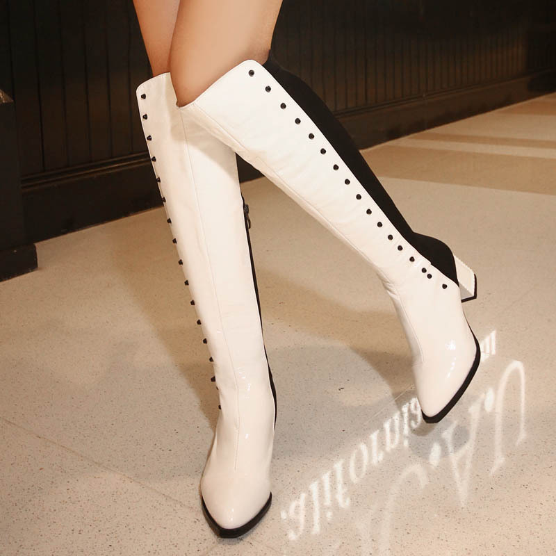 Women Autumn Winter Thick High Heel Rivets Genuine Leather Side Zip Pointed Toe Fashion Over The Knee Boots Size 34-39 SXQ0818 dijigirls new autumn winter women over the knee boots shoes woman fashion genuine leather patchwork long high boots 34 43