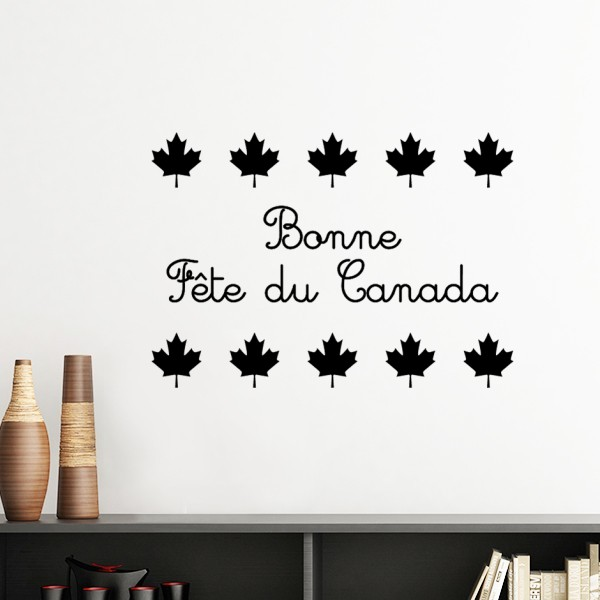 maple leaf happy canada day red slogan silhouette removable wall