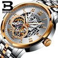 Механические Роскошные Брендовые Часы для мужчин  деловые повседневные наручные часы  BINGER  светящиеся автоматические часы с самозаводом  п...