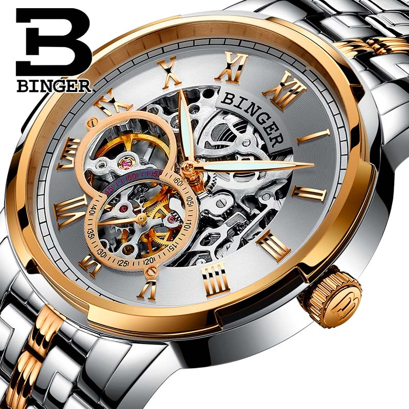 Mechanical Luxury Brand Watch Men Business Casual Wristwatches BINGER Luminous Automatic self-wind skeleton Full Steel 3atm помада by terry rouge terrybly цвет 404 carnal attraction variant hex name 5b0d25