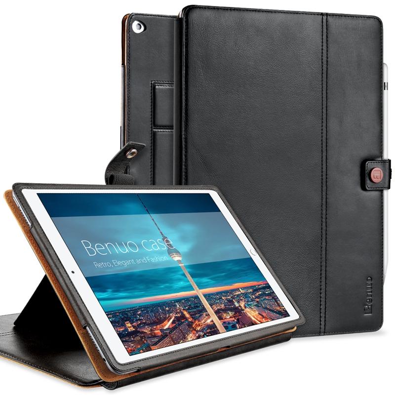 Prix pour Benuo De Protection Case Couverture Pour Apple iPad Pro 12.9 Case Véritable En Cuir W [carte Slots] [Porte-crayon] [Dragonne] Multi Stand