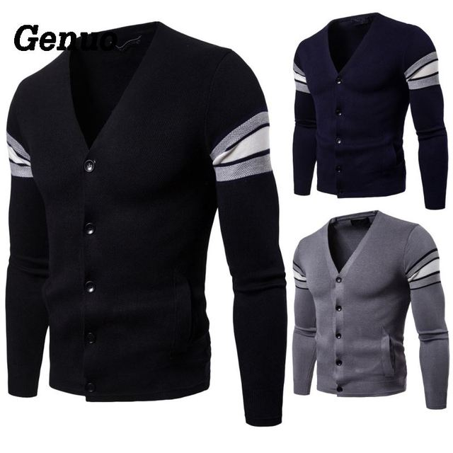 Genuo Sweater Men V-Neck Patchwork Slim Fit Knitting Cardigan Men 2018 Autumn Fashion Casual Tops pull homme