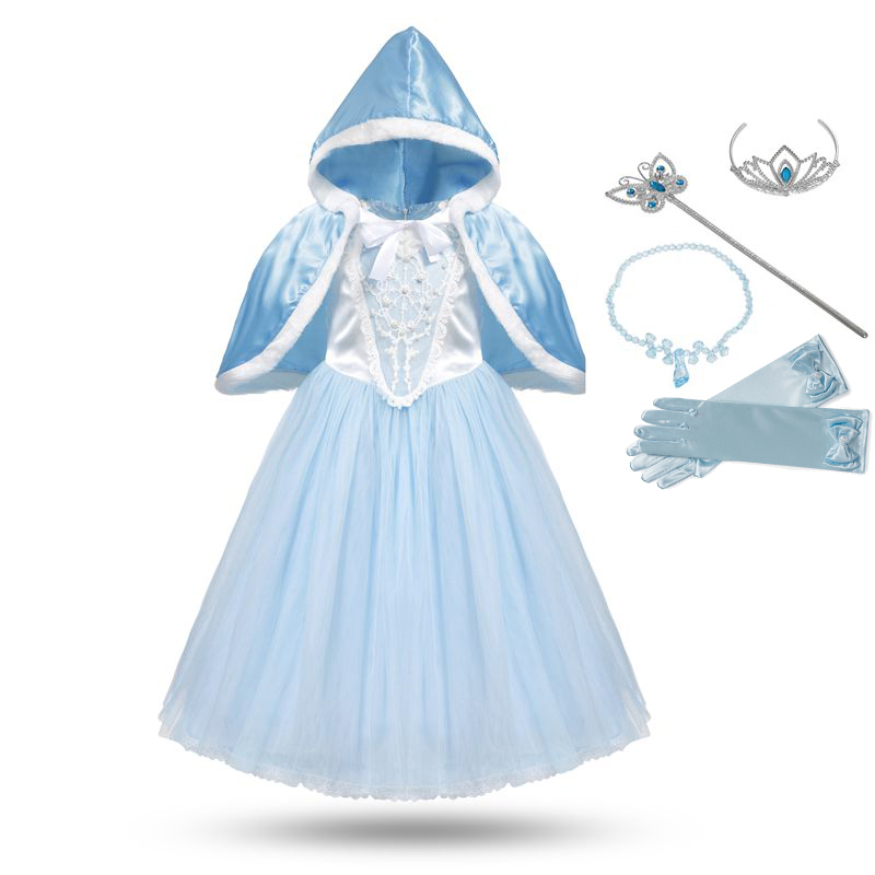 VOGUEON Girl Cinderella Dress up Costume Puff Sleeve Beading Floral Cloak Cosplay Dresses for Little Girl Kids Halloween Clothes puff sleeve peplum top