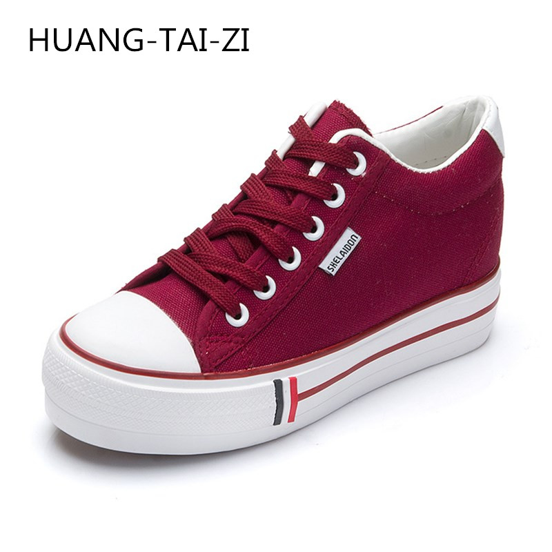 New Fashion Women Shoes Woman Casual Shoes Comfortable Lace Up Platform Sneakers Wedges Denim Canvas Shoes Breathable Flat Shoe e lov women casual walking shoes graffiti aries horoscope canvas shoe low top flat oxford shoes for couples lovers