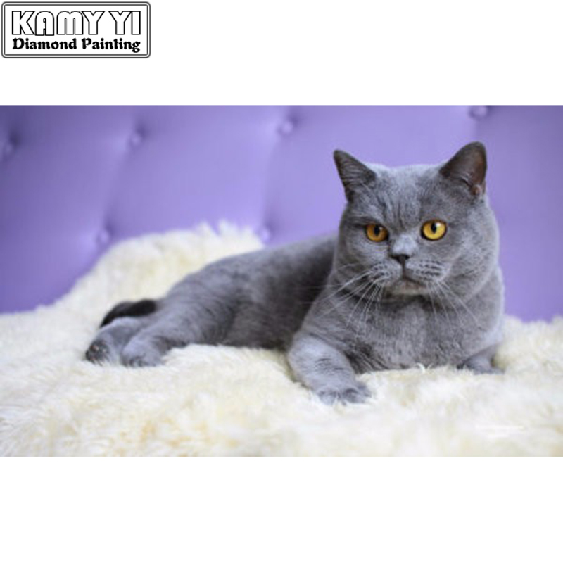 Diamond Embroidery 3D Russian blue cat 5D Diamond Painting Full Dill Square Diamond Mosaic Animals Home Decoration Paintings