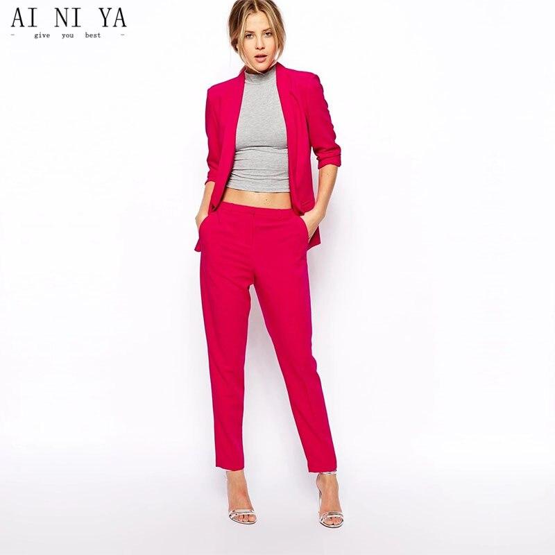 100% Wahr Jacke Pants Rose Red Frauen Anzüge Slim Fit Formal Weibliche Büro Einheitliche Damen Herbst 2 Stück Anzüge Blazer Benutzerdefinierte Gemacht In Den Spezifikationen VervollstäNdigen
