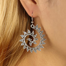 New Trendy Personality Retro Vintage Bohemian Round Spiral Earrings Exaggerated Whirlpool Gear Earrings For Women(China)