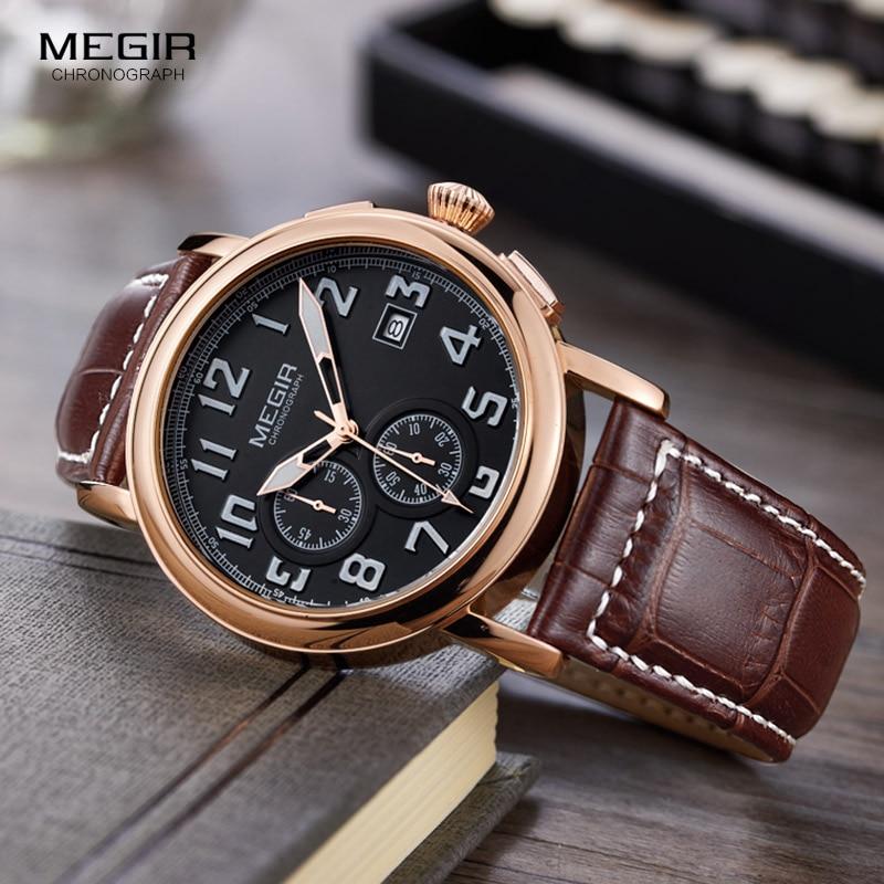 Megir Mens Chronograph Luminous Quartz Armbandsur Fashion Vattentät - Herrklockor - Foto 2