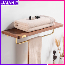 Bathroom Shelf Towel Holder Brass Wood Bathroom Shelves Wall Mounted Towel Rack Hanging Holder Creative Single Towel Bar Nordic high quality bathroom towel holder with ceramic base brass towel rack 60cm towel shelf