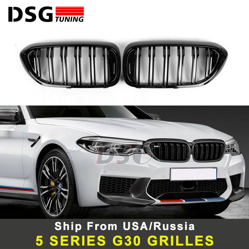Replacement <font><b>G30</b></font> Front Bumper Grill For <font><b>BMW</b></font> 5 Series M5 G31 520i 530i <font><b>540i</b></font> ABS 2-slat Gloss Black Front Kidney Grille image