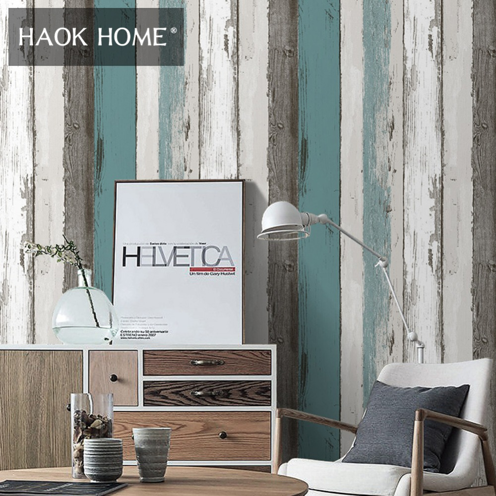 Haokhome 3D Wood Panel Vinyl Wallpaper Blue/Beige Contact paper Living Room Bedroom Kitchen Study Room Home Wall Decor tulle curtains 3d printed kitchen decorations window treatments american living room divider sheer voile curtain single panel