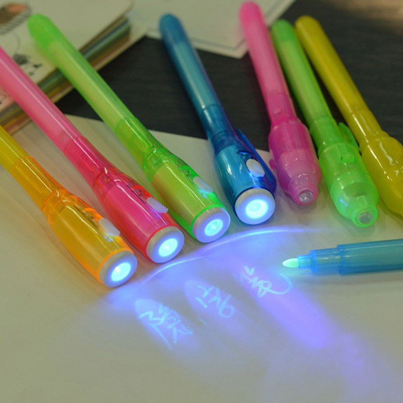 Creative Invisible Ink Spy Pen With Built in UV Light Magic Marker Secret-N