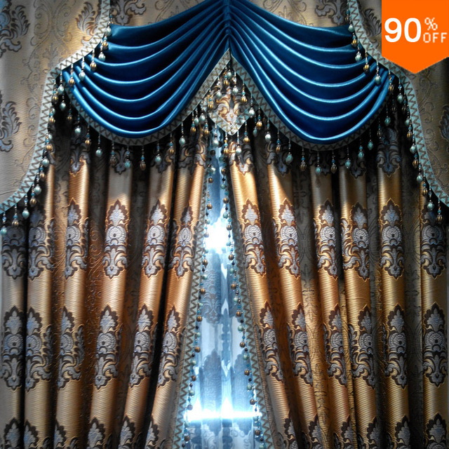Embroidery golden and blue suction curtain rods curtain heart mosquito hotel magnetic curtain with magnets -window wide 1 meter