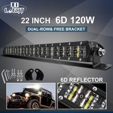 """共同ライトスーパースリム 6D ledワークライトオフロード 22 """"120 ワットのスポット洪水コンボビームled車のライトsuv atvボート 4 × 4 12v 24v"""