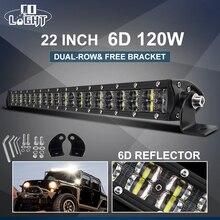 "CO ışık süper ince 6D LED çalışma ışığı Off Road 22 ""120W Spot sel Combo ışın Led araba işık kamyon SUV ATV tekne 4x4 12V 24V"